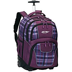 Универсальный школьный рюкзак на колесах Веstway WOSSY XL фиолетовая клетка