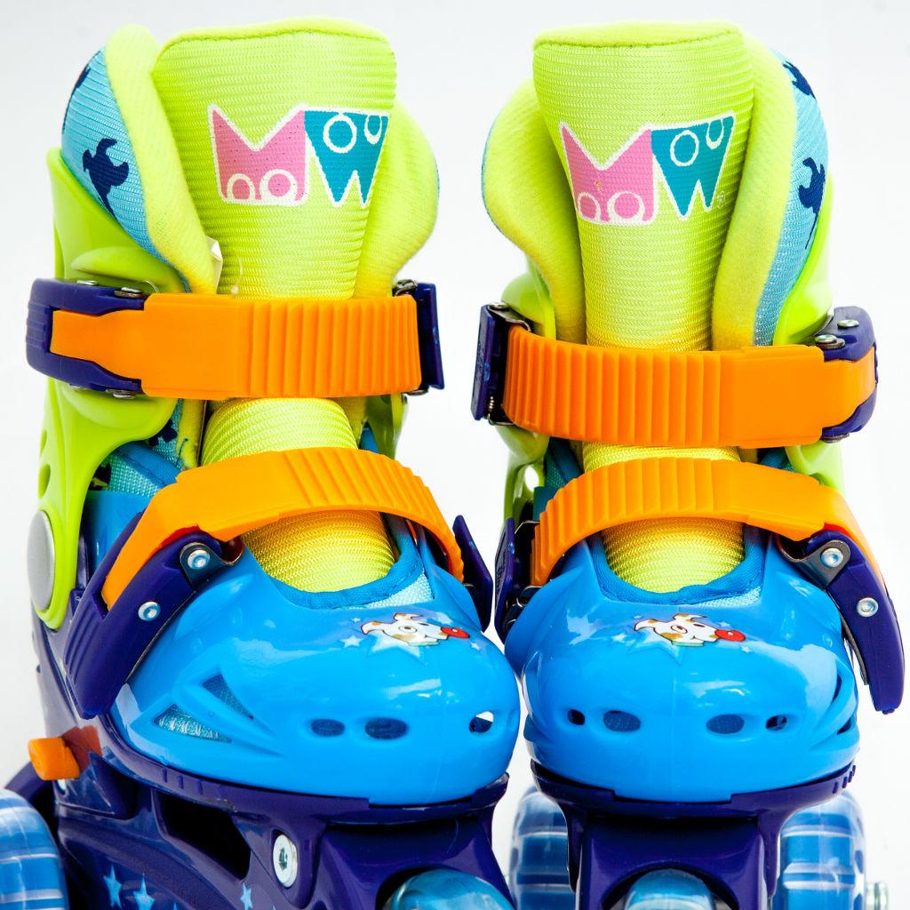 Ролики детские 28 размер, раздвижной ботинок, для обучения катанию (трехколесные) MagicWheels зеленые, - фото 2