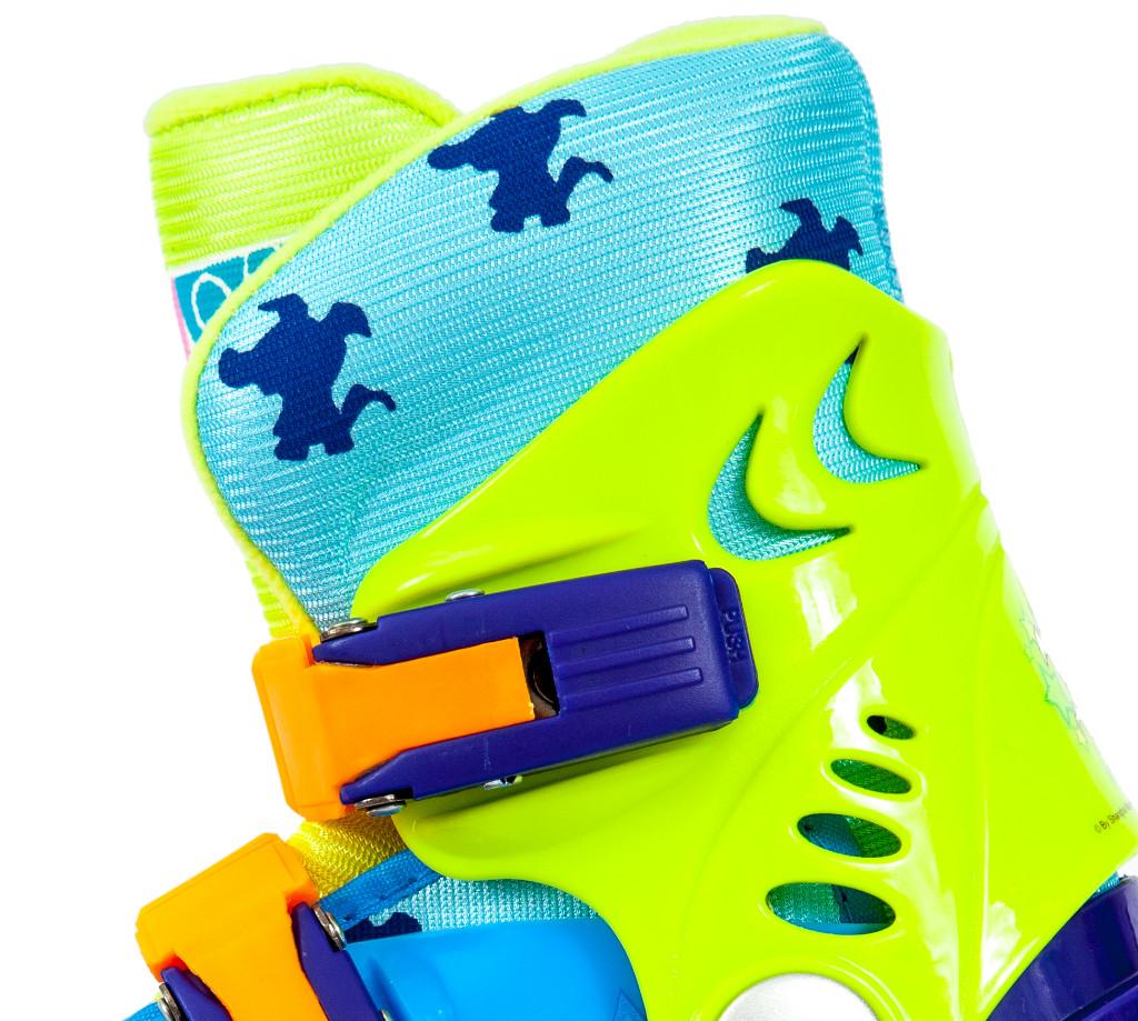 Ролики детские 28 размер, раздвижной ботинок, для обучения катанию (трехколесные) MagicWheels зеленые, - фото 4