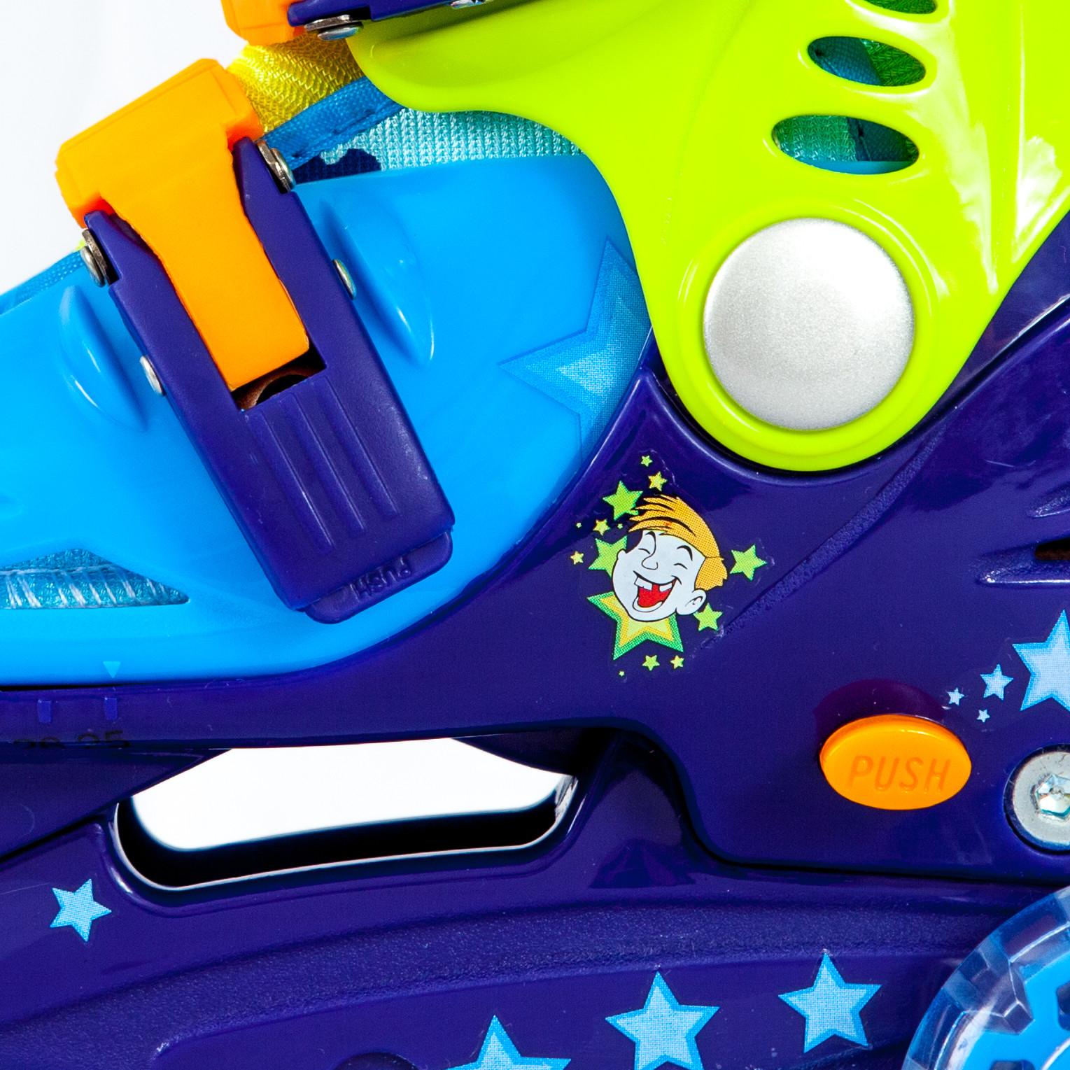 Ролики детские 28 размер, раздвижной ботинок, для обучения катанию (трехколесные) MagicWheels зеленые, - фото 3